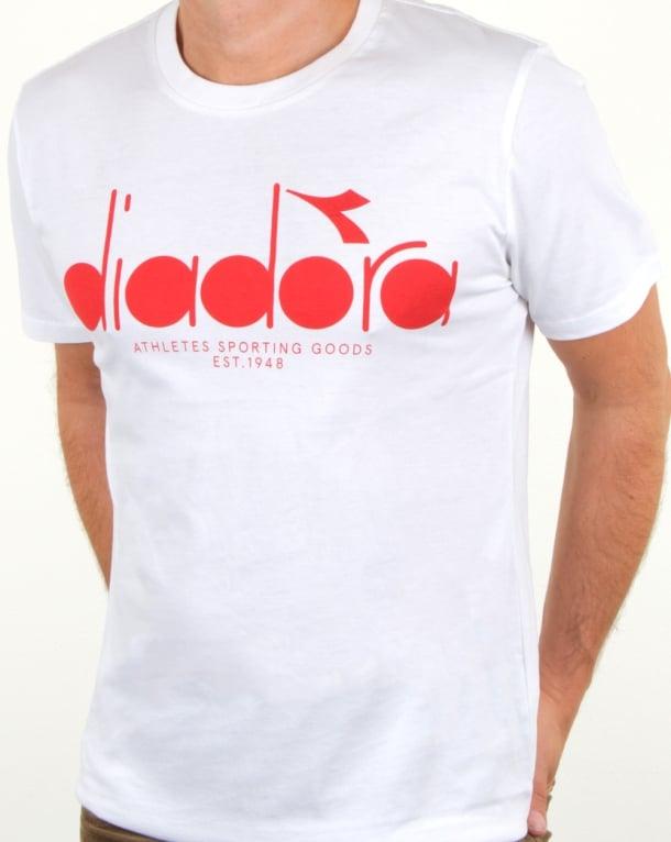 Diadora Logo T Shirt White/red