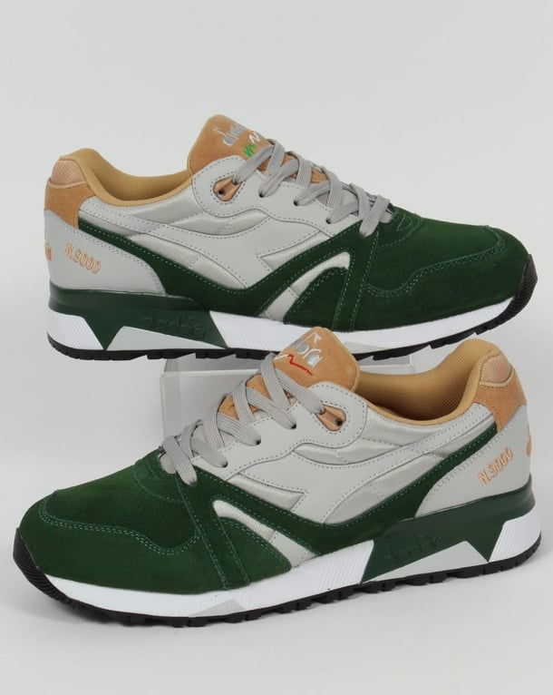 Diadora N9000 Double L Trainers Grey/Green