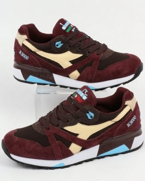 Diadora N9000 Italia Trainers Burgundy/Chocolate