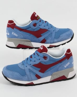 Diadora N9000 Italian Made Trainers Silver Blue/ Deep Red