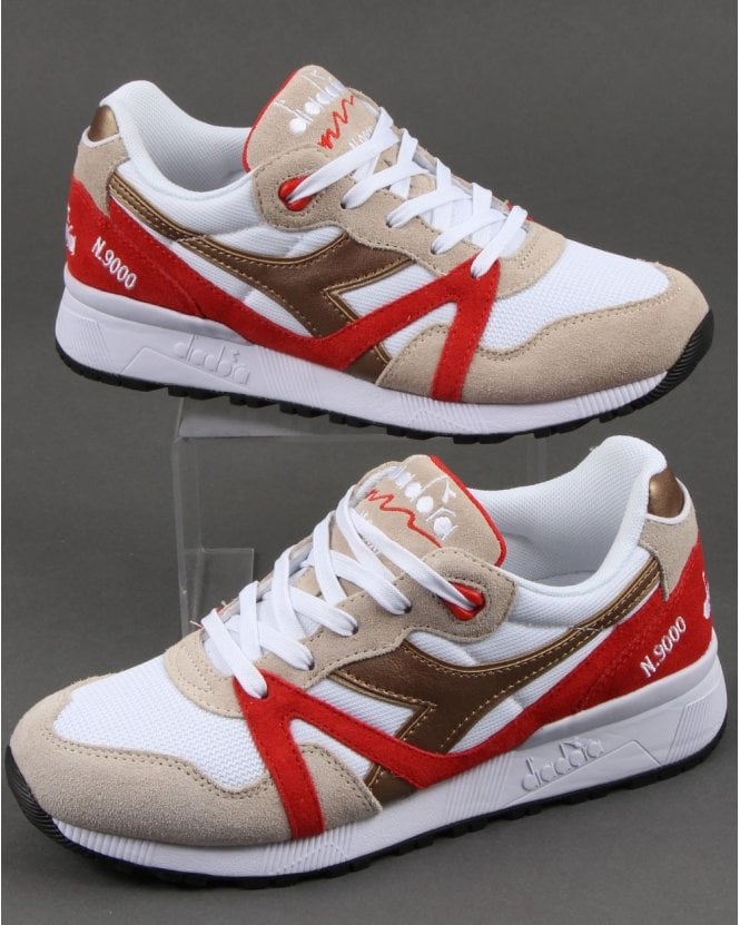 Diadora N9000 Spark Trainers White/Red/Gold