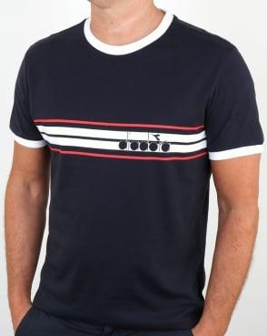 Diadora Ringer T Shirt Navy Blue