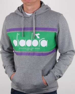 Diadora Spectra Hoodie Light Grey/light Emerald