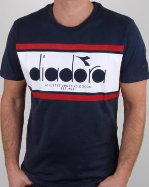 Diadora Spectra T Shirt Blue Denim/white/red Salsa