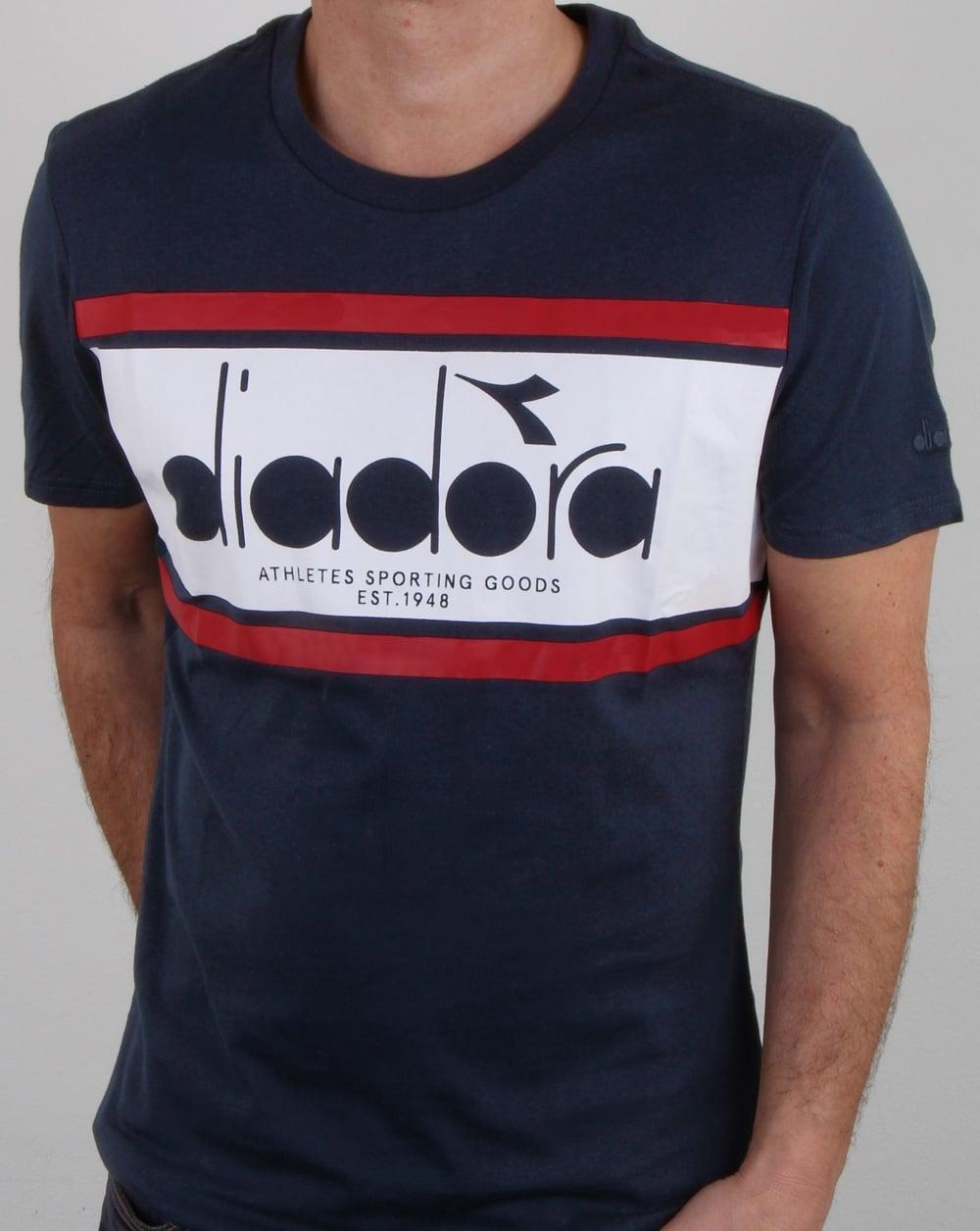 Diadora Spectra T Shirt Blue Denim/white/red Salsa