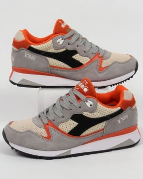 Diadora V7000 Premium Trainers Grey/Orange