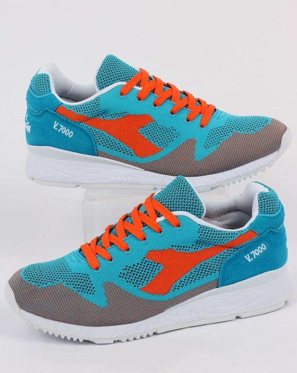Diadora V7000 Weave Trainers Cyan Blue/Orange
