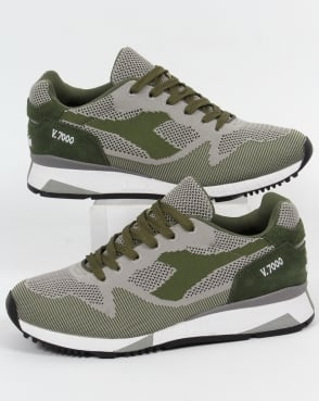 Diadora V7000 Weave Trainers Olive Green