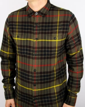 Edwin Labour Check Shirt Uniform Green