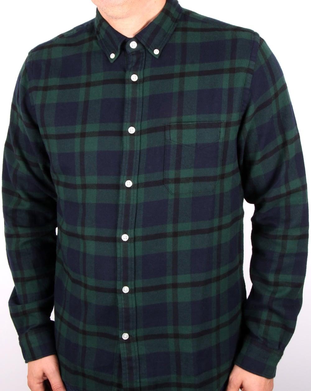 Edwin jeans edwin standard light flannel shirt black for Flannel shirt and jeans