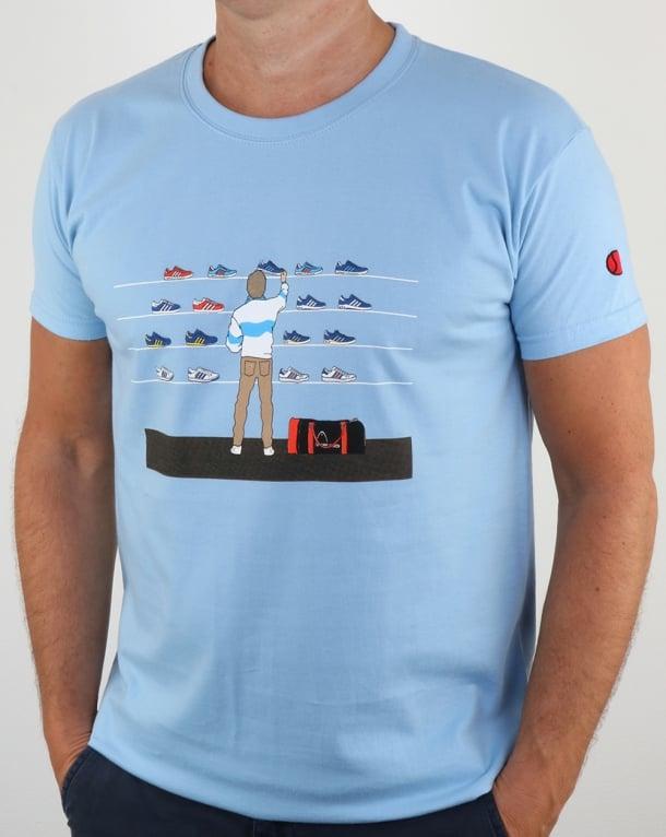 Eighties Tales Of Train Journeys T Shirt Sky Blue