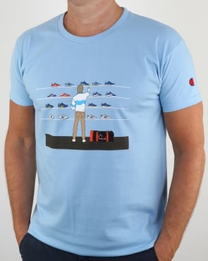 80s Casuals Eighties Tales Of Train Journeys T Shirt Sky Blue