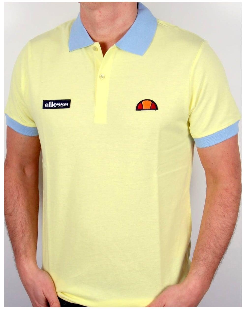 e2140ccb71 Ellesse 80s Collar Polo Shirt Lemon/Sky