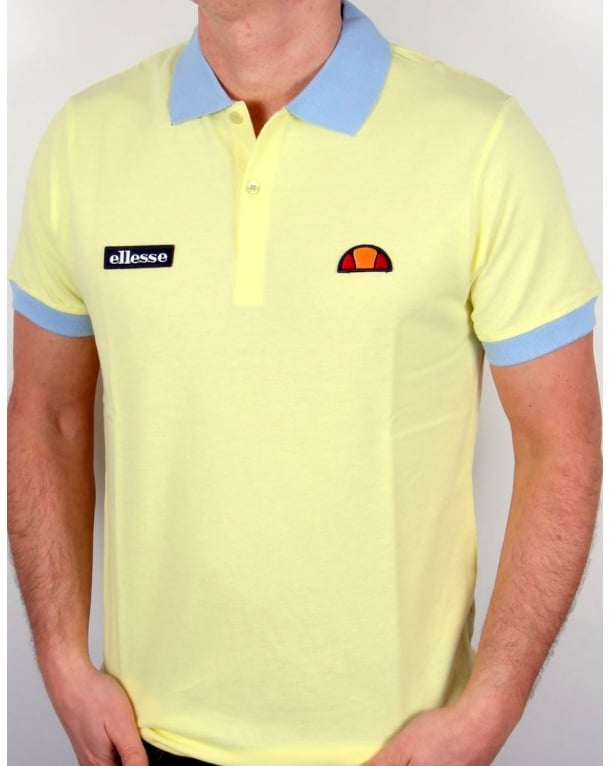 Ellesse 80s Collar Polo Shirt Lemon/Sky