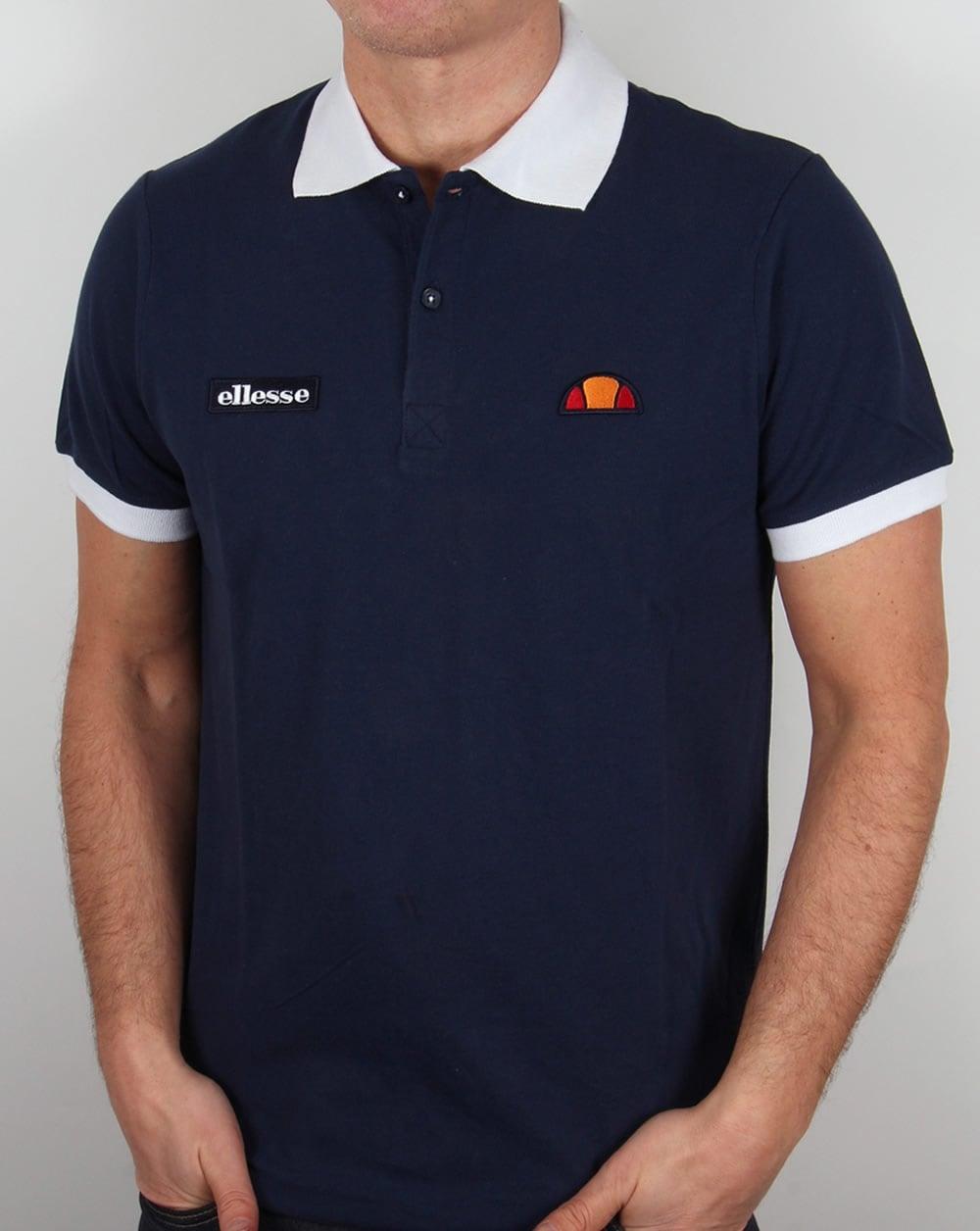 Ellesse lessepsia 17 polo shirt navy pique cotton mens for Mens navy polo shirt