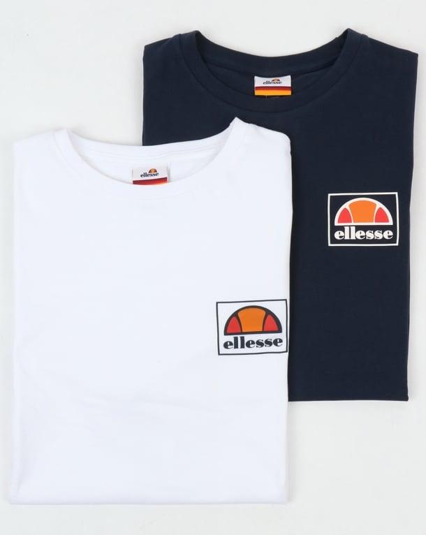 Ellesse Alfio T Shirt Twin Pack Navy/white