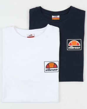 Ellesse Alfio T Shirt Twin Pack Navy/white