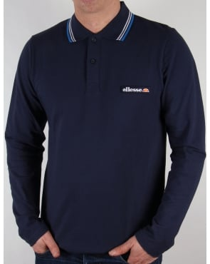 Ellesse Antrani Long Sleeve Polo Shirt Navy