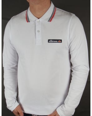 Ellesse Antrani Long Sleeve Polo Shirt White