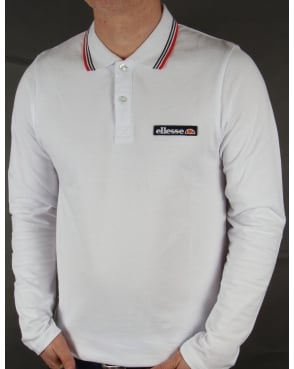 Ellesse Antrani Long Sleeve Polo Shirt White