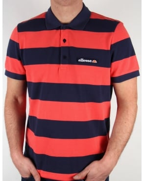 Ellesse Aronso Polo Shirt Dark Navy/Coral