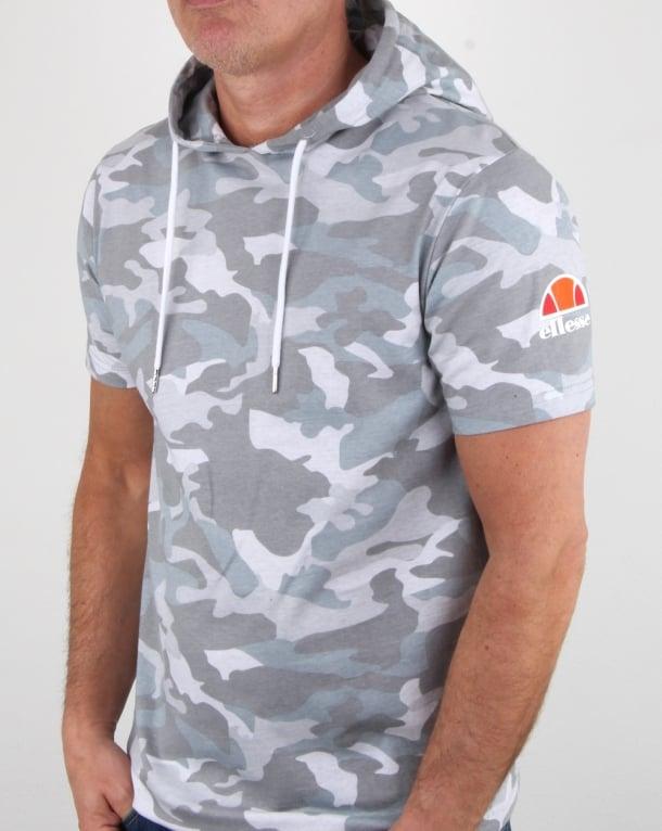 Ellesse Arpreggiare Hooded T Shirt Grey Camo