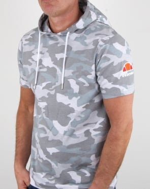 Ellesse Arpreggiare Hooded T Shirt Grey Camo