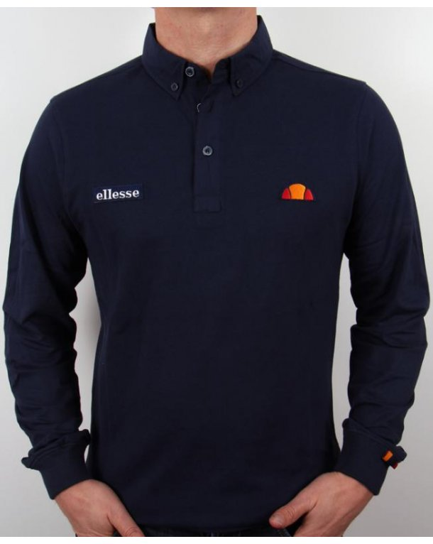 Ellesse Baresi Long Sleeve Polo Shirt Navy