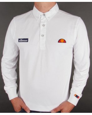 Ellesse Baresi Long Sleeve Polo Shirt White