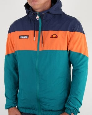 Ellesse Block Hooded Jacket Navy/Orange/Green