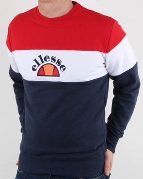 Ellesse Block Stripe Sweatshirt Navy/white/red