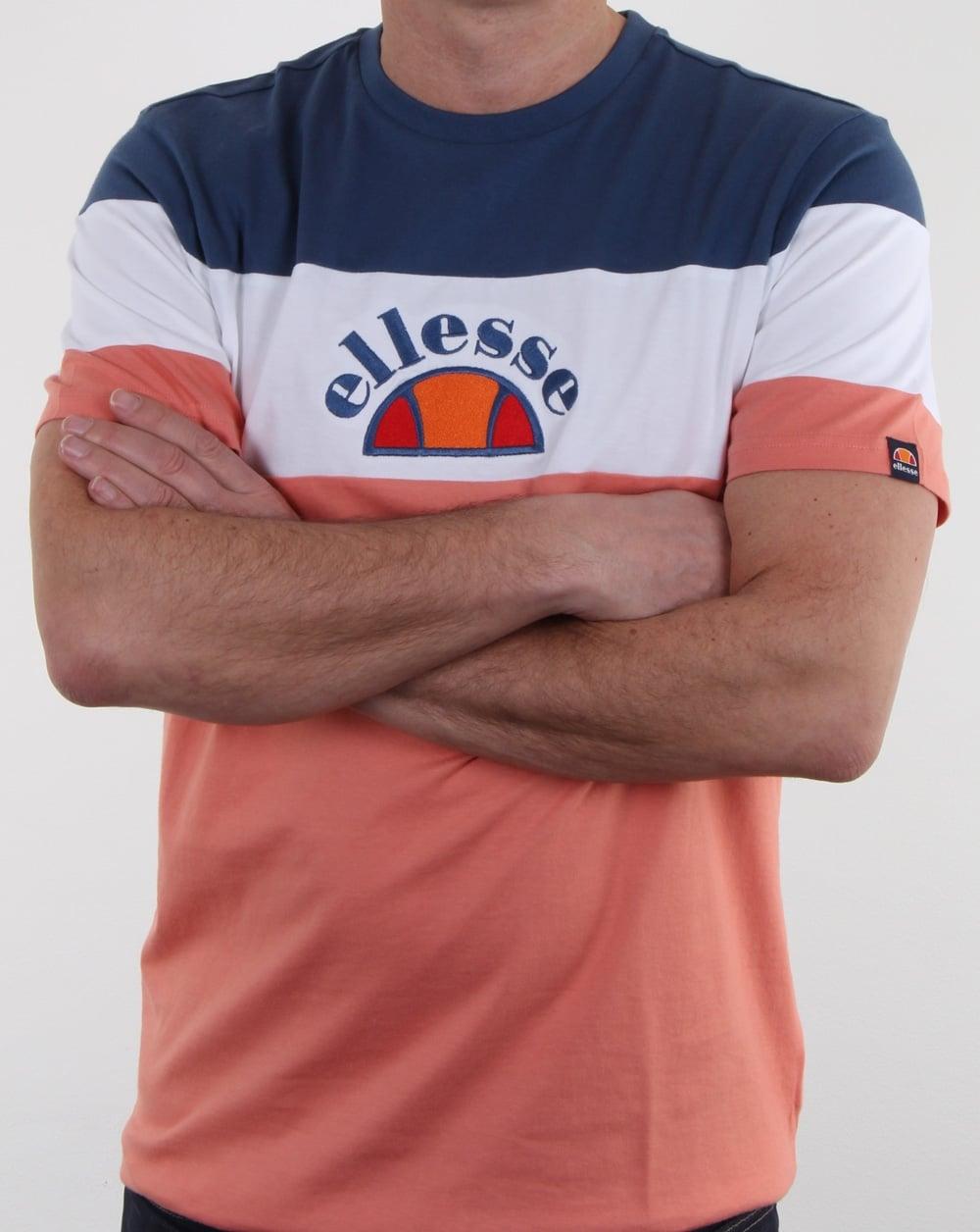 Ellesse Gubbio T Shirt Peach White Ensign Blue c6d13fefcba