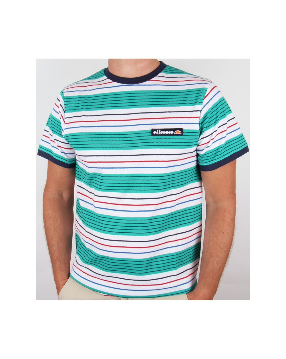 Ellesse cabassa striped t shirt green stripe tee mens