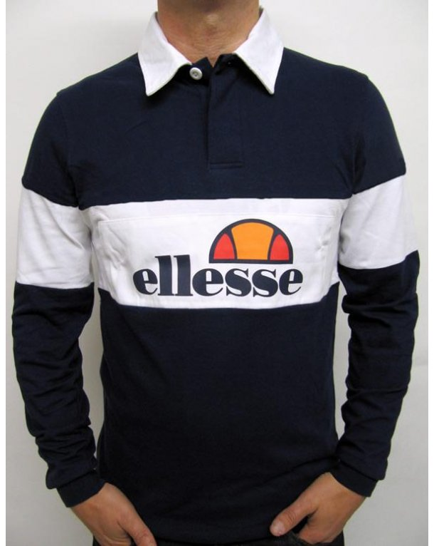 Ellesse Campari 80s Rugby Shirt Navy/White