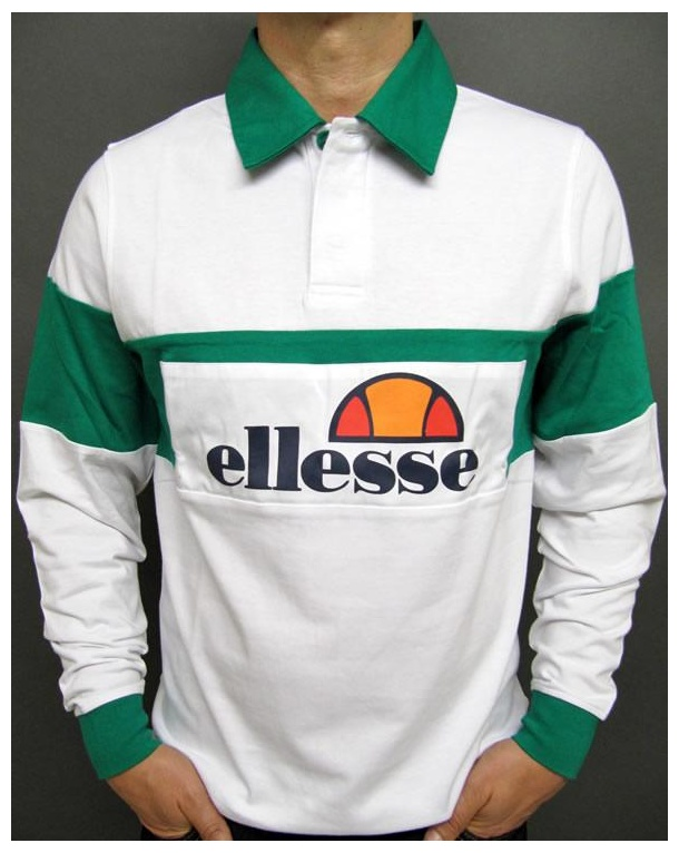 Ellesse Campari 80s Rugby Shirt White/Green