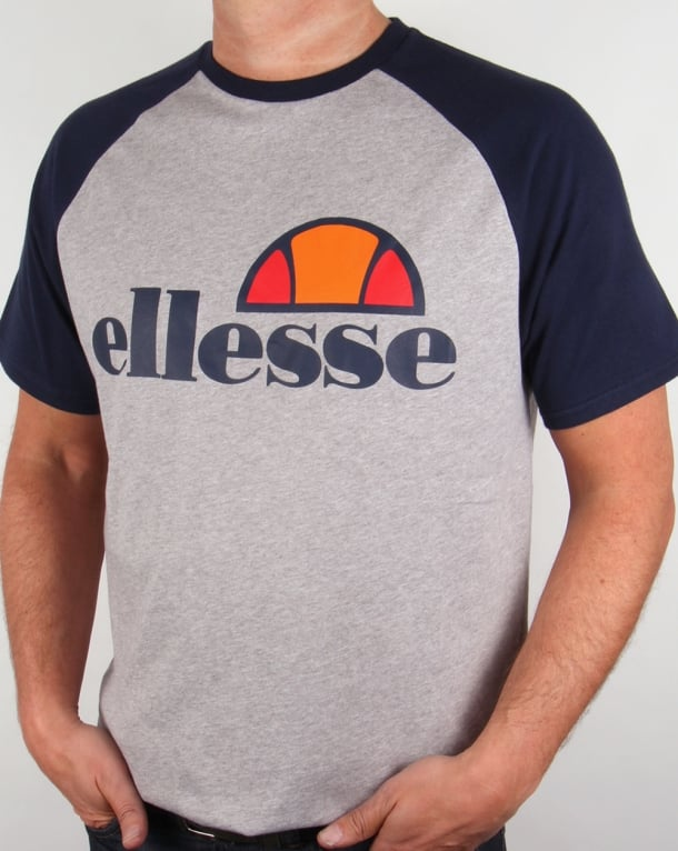 ellesse cassina raglan t shirt grey navy crew neck round mens tee. Black Bedroom Furniture Sets. Home Design Ideas