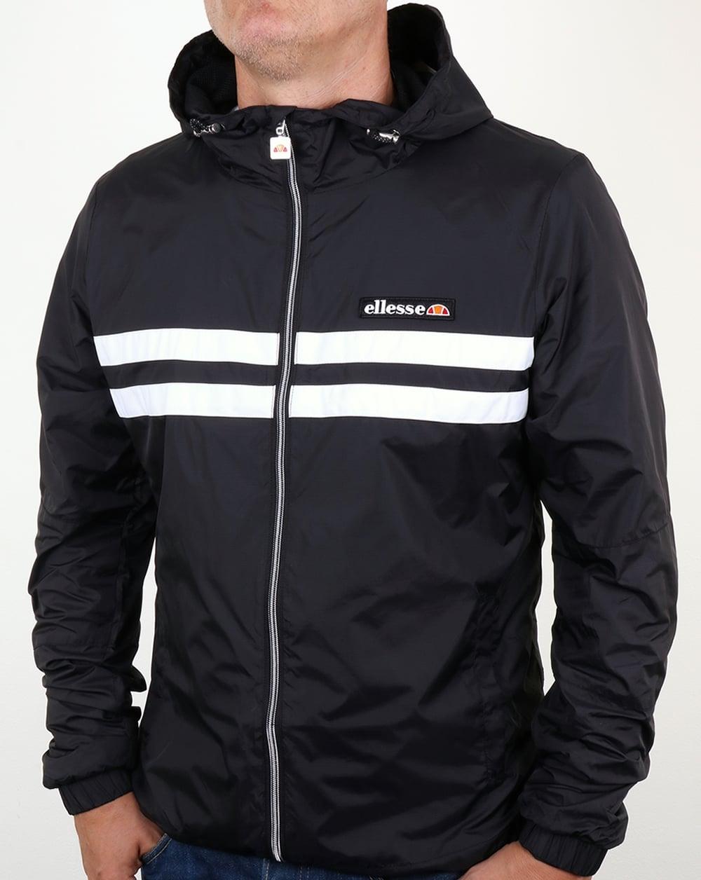 ellesse rimini striped rain jacket black citerna waterproof windbreaker mens. Black Bedroom Furniture Sets. Home Design Ideas