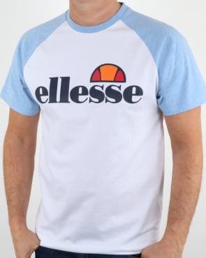 Ellesse Contrast Logo T Shirt White / Sky