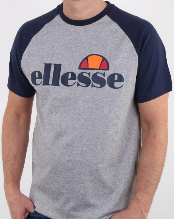 Ellesse Contrast T Shirt Light Grey Marl