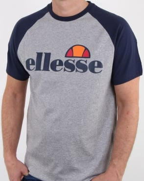Ellesse Contrast T Shirt Light Grey Marl