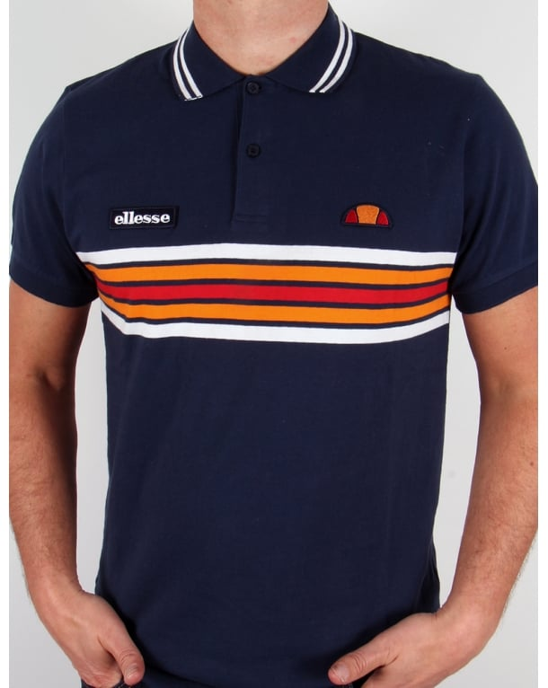 Ellesse Elite Striped Polo Shirt Navy