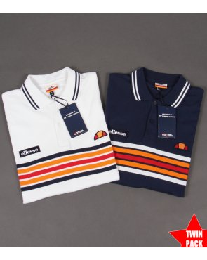 Ellesse Elite Striped Polo Shirt Twin Pack Navy/white