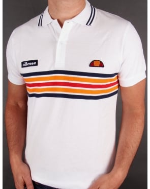 Ellesse Elite Striped Polo Shirt White