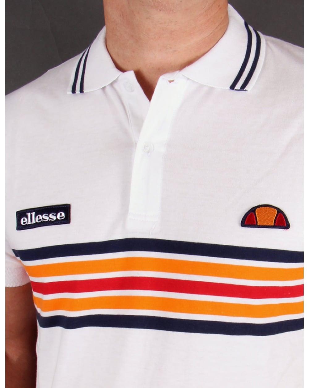 8861e275e24 Ellesse Elite Striped Polo Shirt White - heritage striped polo