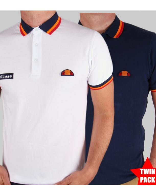 Ellesse Elite Tipped Polo Shirt Twin Pack White/navy