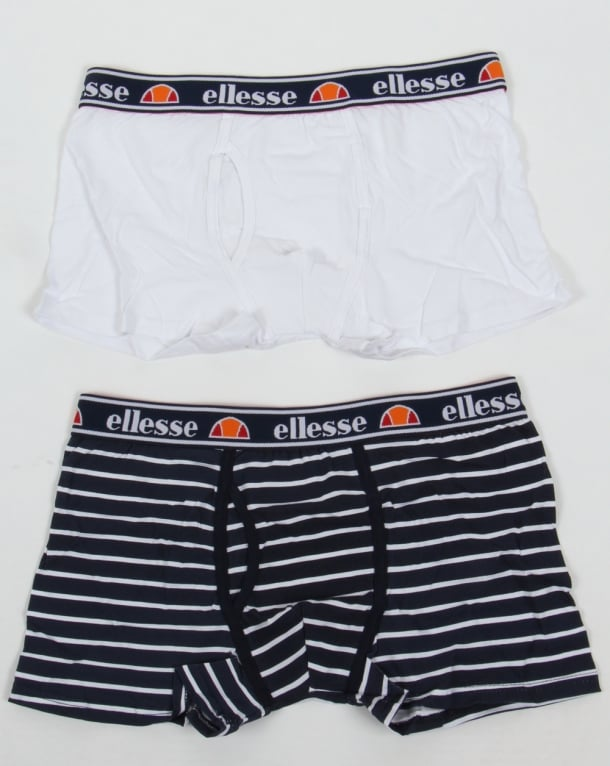 Ellesse Foro Boxer Shorts Twin Pack White/Navy