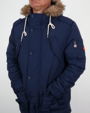 Ellesse Fur Lined Hooded Parka Navy