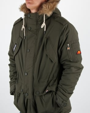 Ellesse Fur Lined Hooded Parka Olive