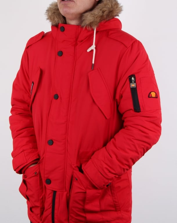 Ellesse Fur Lined hooded Parka Red