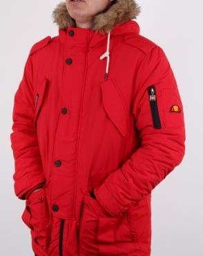 Ellesse Fur Lined hooded Parka Red